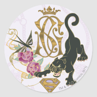 Supergirl Black Panther Classic Round Sticker