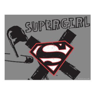 Supergirl Black Safety Pins Postcard