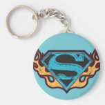 Supergirl Blue Logo with Flames Basic Round Button Keychain