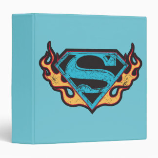 Supergirl Blue Logo with Flames 3 Ring Binder