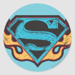 Supergirl Blue Logo with Flames Classic Round Sticker