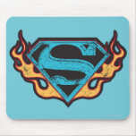 Supergirl Blue Logo with Flames Mouse Pad