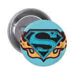 Supergirl Blue Logo with Flames Pinback Button