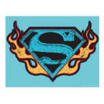 Supergirl Blue Logo with Flames Postcard
