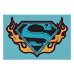 Supergirl Blue Logo with Flames Poster
