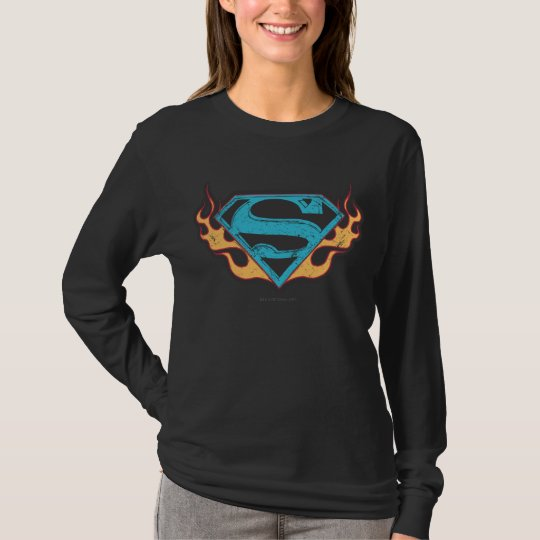 Supergirl Blue Logo with Flames T-Shirt