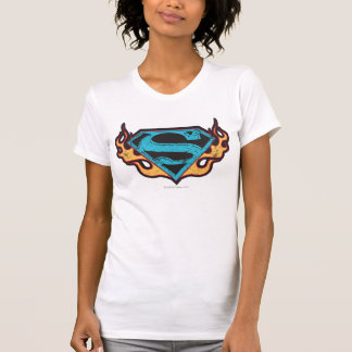Supergirl Blue Logo with Flames Tee Shirt