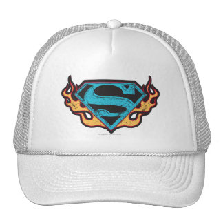 Supergirl Blue Logo with Flames Trucker Hat