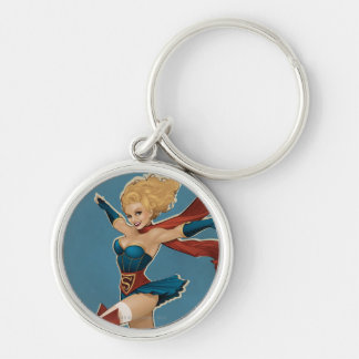 Supergirl Bombshell Silver-Colored Round Keychain