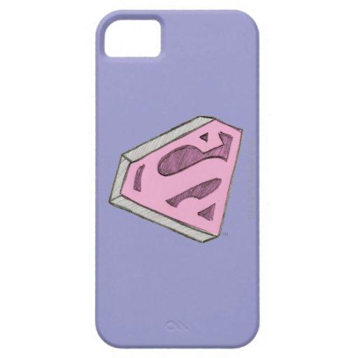 Supergirl bosquejó el logotipo rosado iPhone 5 protectores