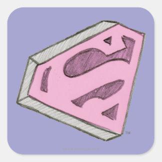 Supergirl bosquejó el logotipo rosado pegatina cuadrada