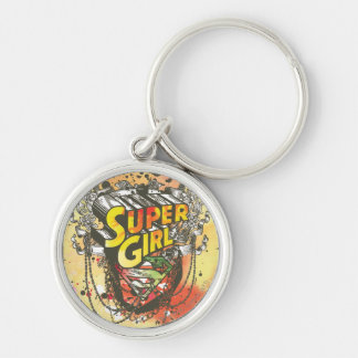 Supergirl Chains Silver-Colored Round Keychain