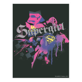 Supergirl Checkered Splatter Postcard