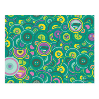 Supergirl Circle Green Pattern Post Card