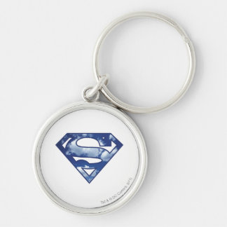 Supergirl Cloud Logo Silver-Colored Round Keychain