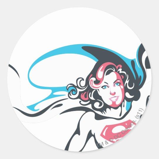 Supergirl Color Splash Pose 2 Classic Round Sticker