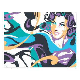 Supergirl Color Splash Swirls 1 Postcard