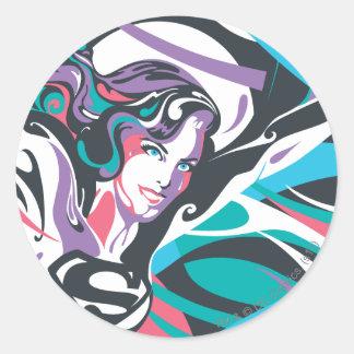 Supergirl Color Splash Swirls 2 Classic Round Sticker