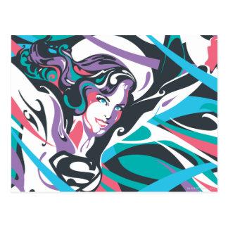 Supergirl Color Splash Swirls 2 Postcard