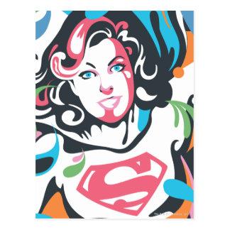 Supergirl Color Splash Swirls 3 Postcard