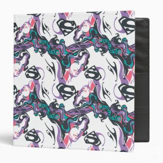 Supergirl Color Splash Swirls Pattern 3 3 Ring Binders