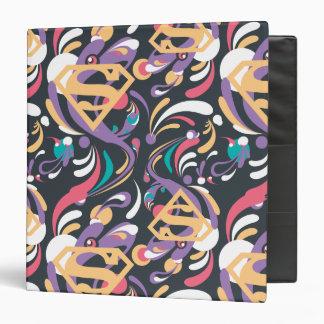 Supergirl Color Splash Swirls Pattern 8 Binder