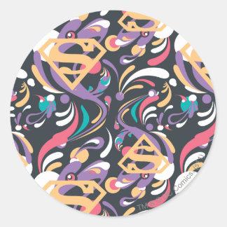 Supergirl Color Splash Swirls Pattern 8 Classic Round Sticker