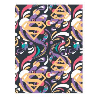 Supergirl Color Splash Swirls Pattern 8 Postcard