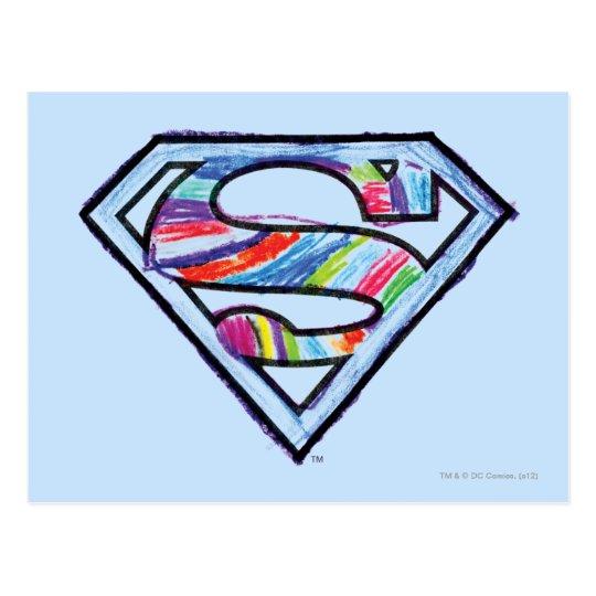 Supergirl Colorful Sketch Logo Postcard