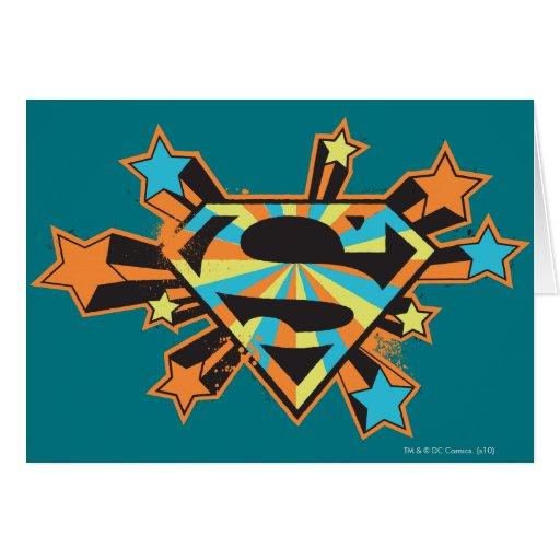 Supergirl Colorful Stars Logo Greeting Card