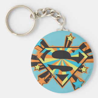 Supergirl Colorful Stars Logo Basic Round Button Keychain