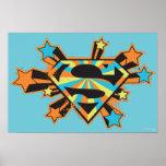 Supergirl Colorful Stars Logo Poster