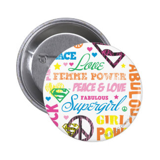 Supergirl Colorful Text Collage Button