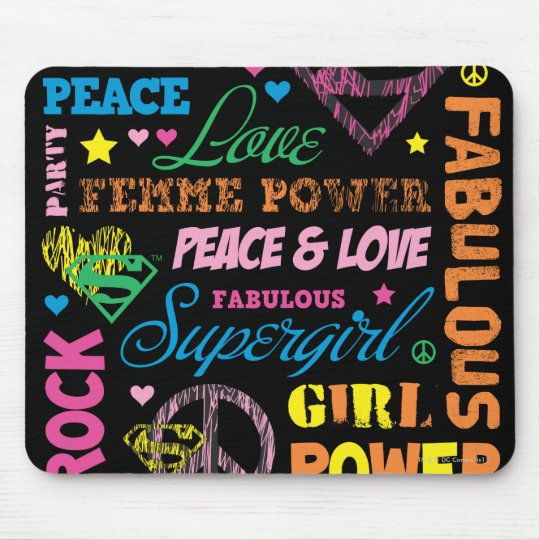 Supergirl Colorful Text Collage Mouse Pad