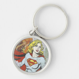Supergirl Comic Capers 2 Silver-Colored Round Keychain