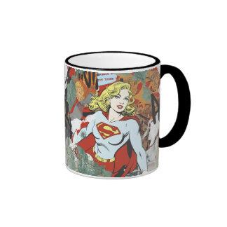 Supergirl Comic Capers Pattern 8 Ringer Mug