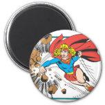 Supergirl Destroys Boulder 2 Inch Round Magnet
