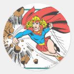Supergirl Destroys Boulder Classic Round Sticker