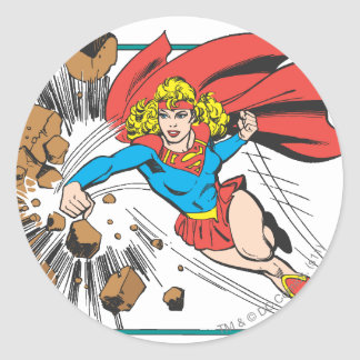 Supergirl Destroys Boulder Classic Round Sticker