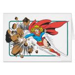 Supergirl Destroys Boulder Greeting Card