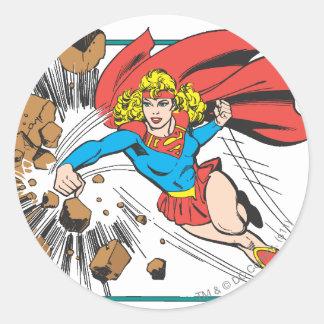 Supergirl destruye Boulder Pegatina Redonda