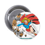 Supergirl destruye Boulder Pin Redondo De 2 Pulgadas
