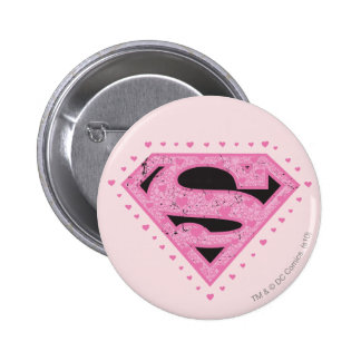 Supergirl Distressed Logo Black and Pink Button