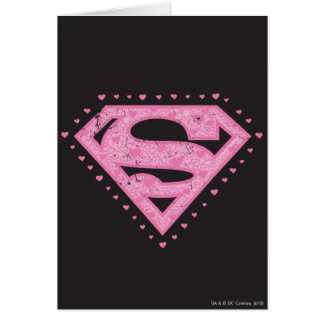 Supergirl Distressed Logo Black and Pink Card