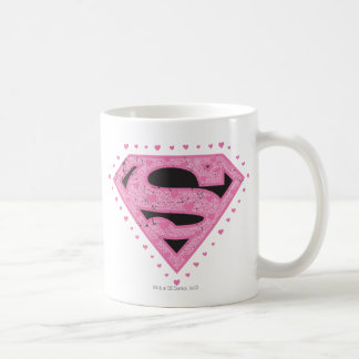 Supergirl Distressed Logo Black and Pink Coffee Mug