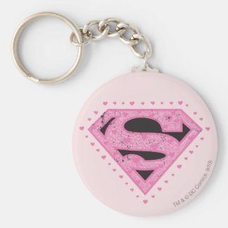 Supergirl Distressed Logo Black and Pink Basic Round Button Keychain