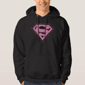 Supergirl Distressed Logo Black and Pink Pullover