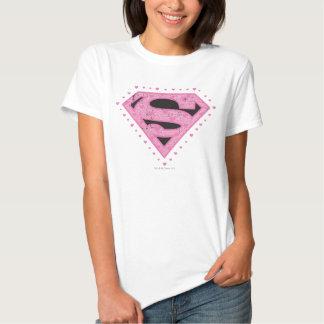 Supergirl Distressed Logo Black and Pink Tees