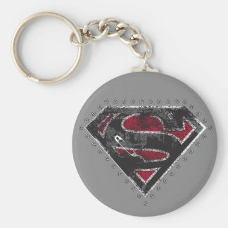 Supergirl Distressed Logo Black and Red Basic Round Button Keychain