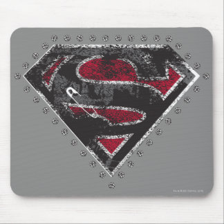 Supergirl Distressed Logo Black and Red Mouse Pad